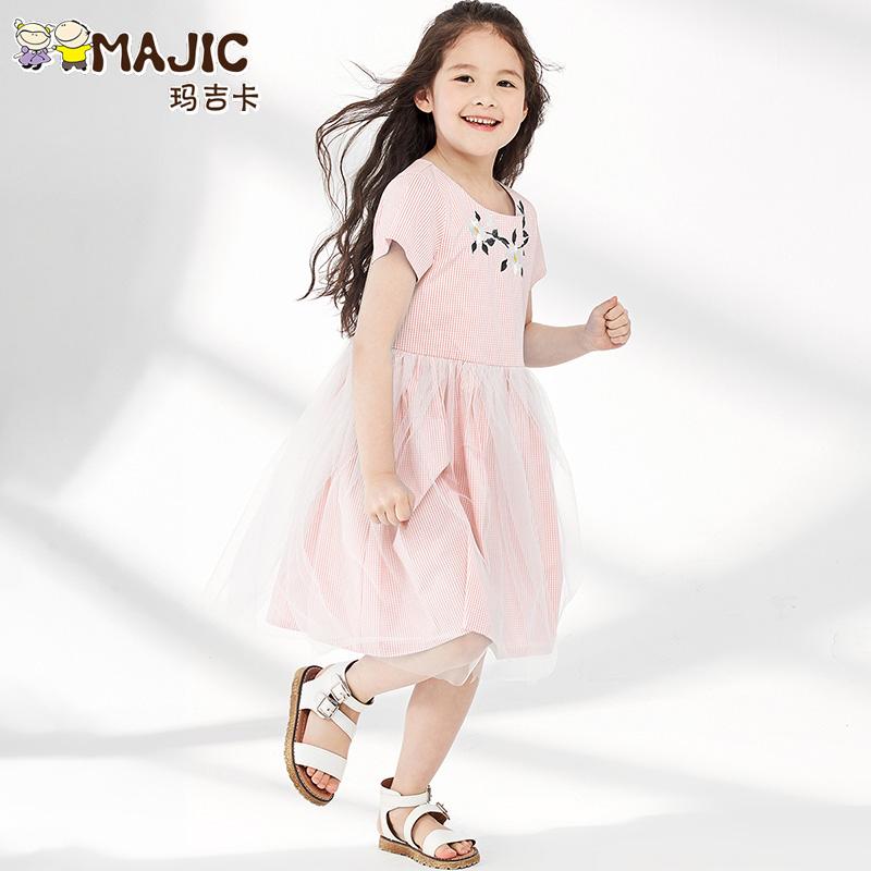 玛吉卡童装女童连衣裙夏装2019新款刺绣网纱裙儿童洋气蓬蓬公主裙