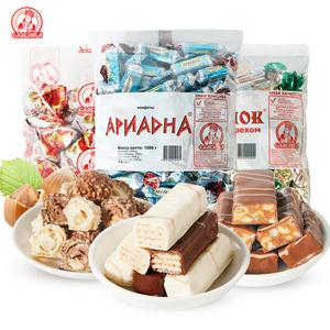 俄罗斯进口糖果斯拉夫酸奶威化1000g食品零食巧克力糖果批发散装
