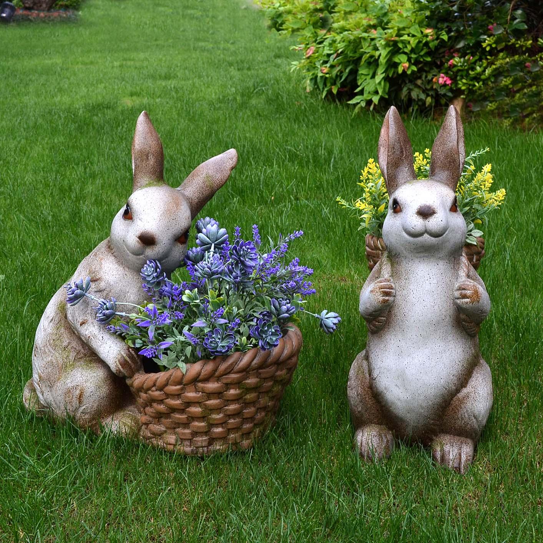 户外创意草坪别墅园林庭院兔子雕塑花园景观阳台装饰花盆动物摆件