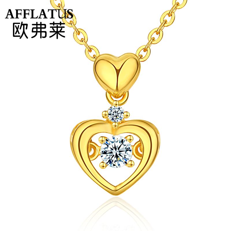 欧弗莱 999黄金项链女时尚韩版心形吊坠细款生日礼物送女友时尚