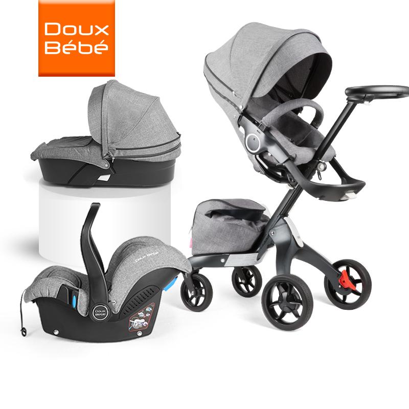 英国Douxbebe高景观婴儿推车手可坐可躺折叠避震宝宝推车加提篮