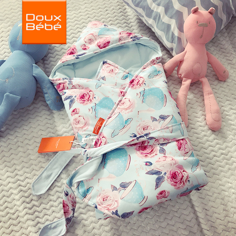 英国douxbebe 婴儿抱被纯棉春秋不可脱胆宝宝用品新生儿包被薄款