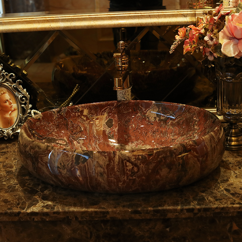 Jingdezhen ceramic stage basin art oval lavatory toilet lavabo marbled European style
