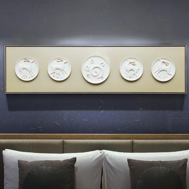 装饰画3D立体鹿象浮雕挂画沙发背景现代简约大气欧式卧室床头墙画