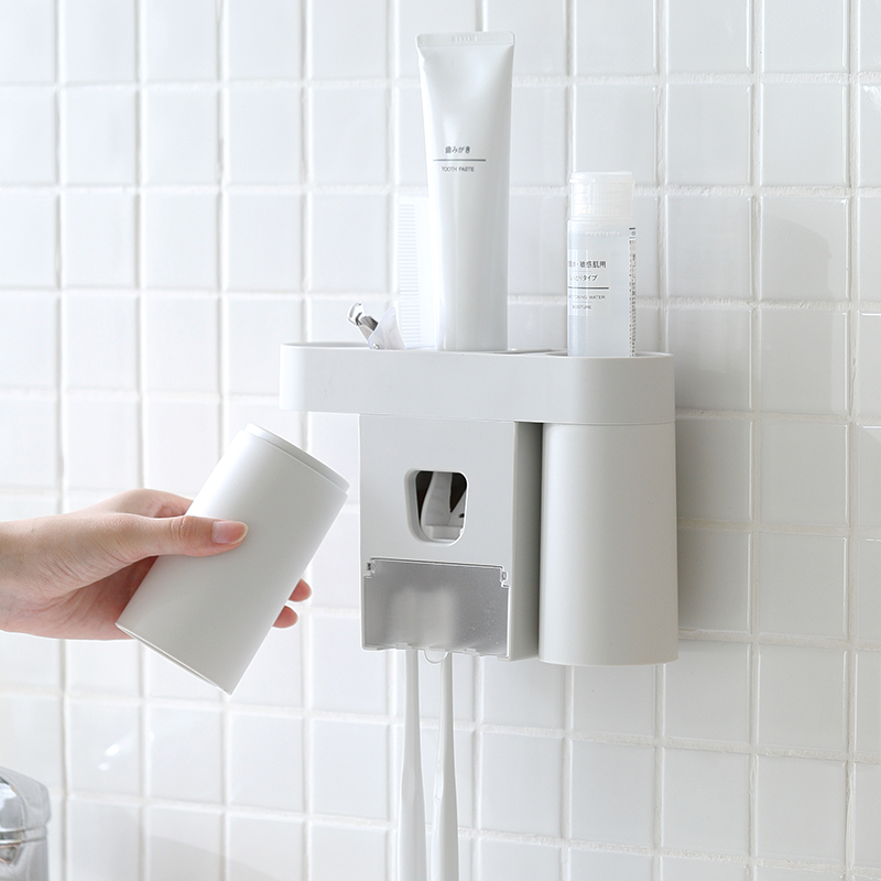 Lazy Corner Bathroom Toothbrush Shelf Wash Set Wall Mounted Mouthwash Cup Tooth Holder 64003