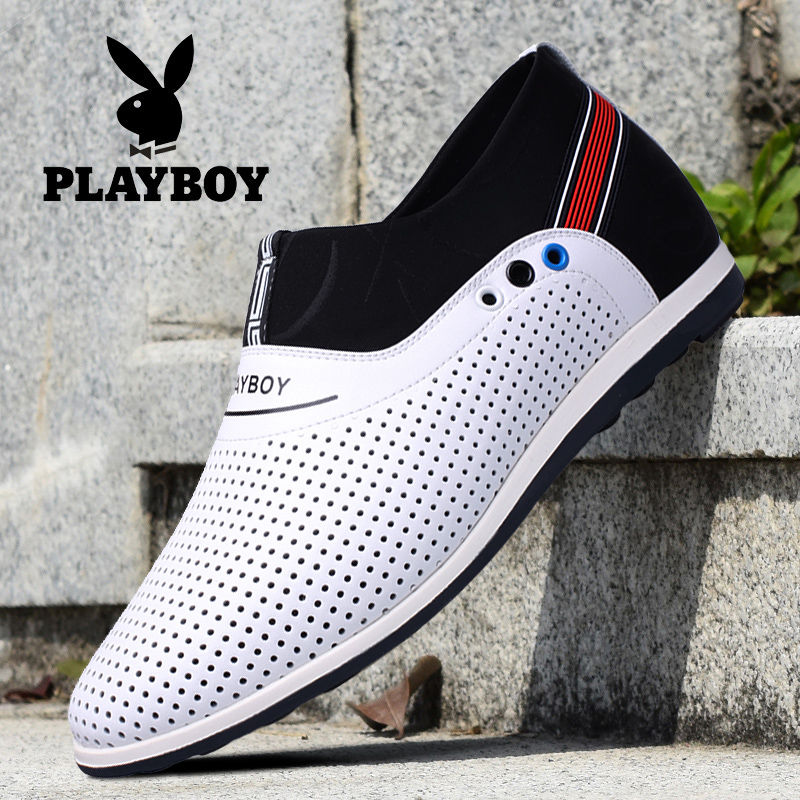 Playboy Men's Shoes Summer Sandals 2017 New Men's Casual Shoes Leather Shoes Hollow Hollow Youth Tide