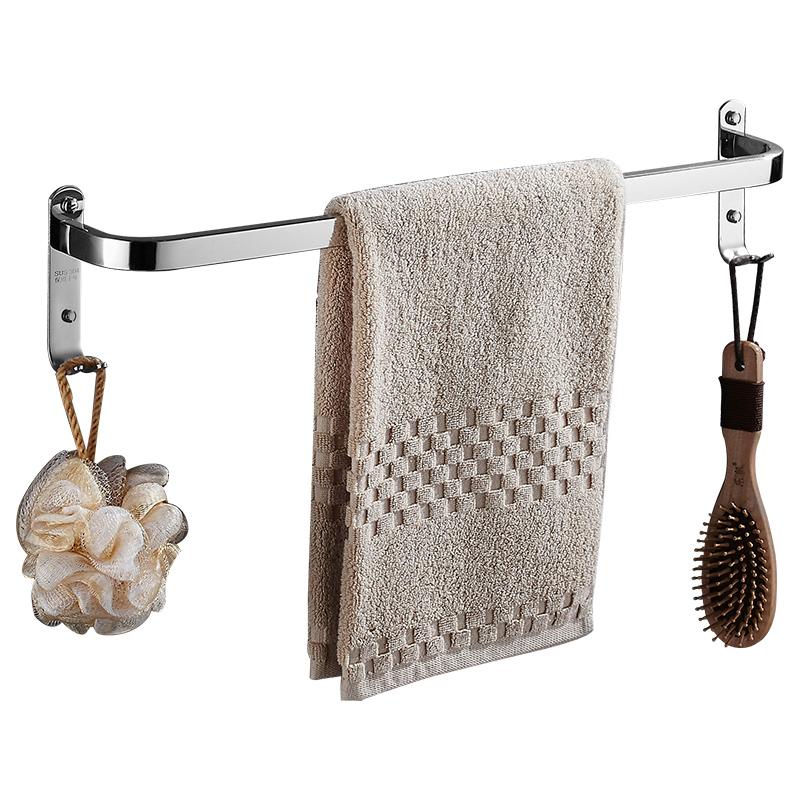 免打孔304不锈钢毛巾杆单杆凉毛巾架挂杆单层厕所浴室卫生间加长