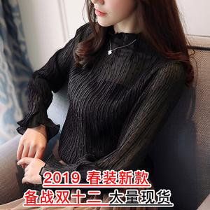 实拍 169# 2019春装新款韩版时尚蕾丝衫压折镂空雪纺衫...