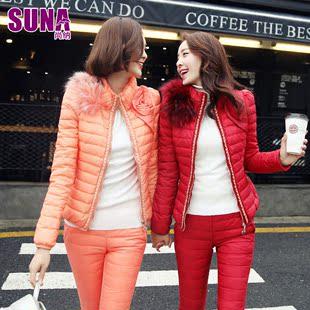 尚纳2014冬装新款 韩版修身蕾丝毛领羽绒服套装短款女 两件套