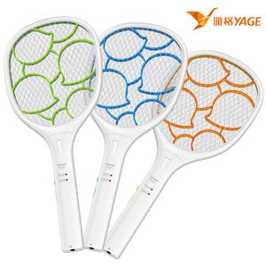 雅格电蚊拍充电式家用强力灭蚊大网面led灯多功能蚊子拍电苍蝇拍