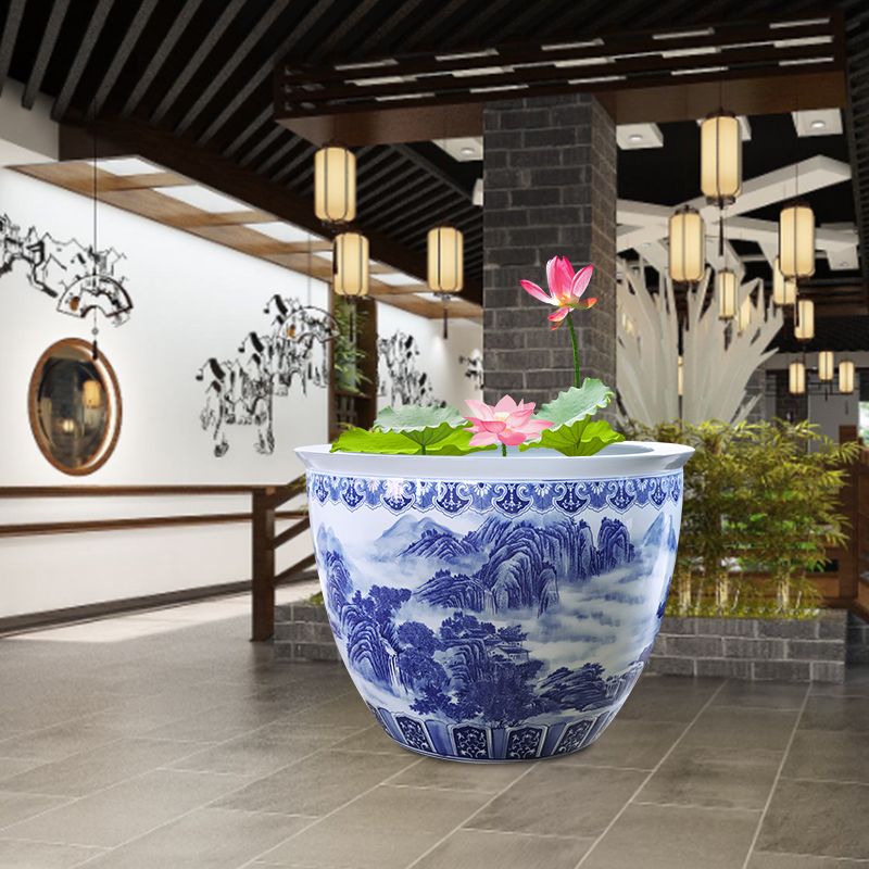 Blue and white ceramic packages mailed to heavy tank 1 m 2 tank porcelain jar water lily basin big bowl lotus lotus cylinder cylinder cylinder tortoise