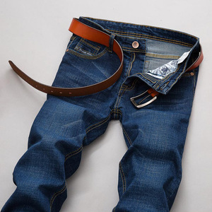 春夏薄款男士弹力牛仔裤修身直筒青年长裤弹力大码商务男裤子马裤