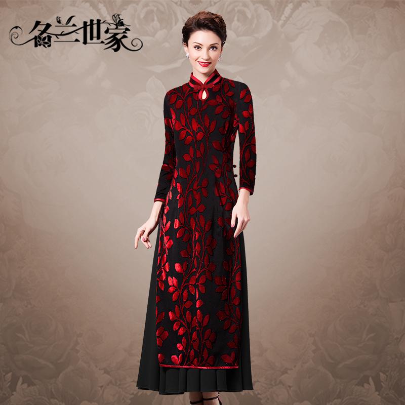 名兰世家中国风女装长款长袖连衣裙礼服改良植绒雪纺旗袍裙奥黛风