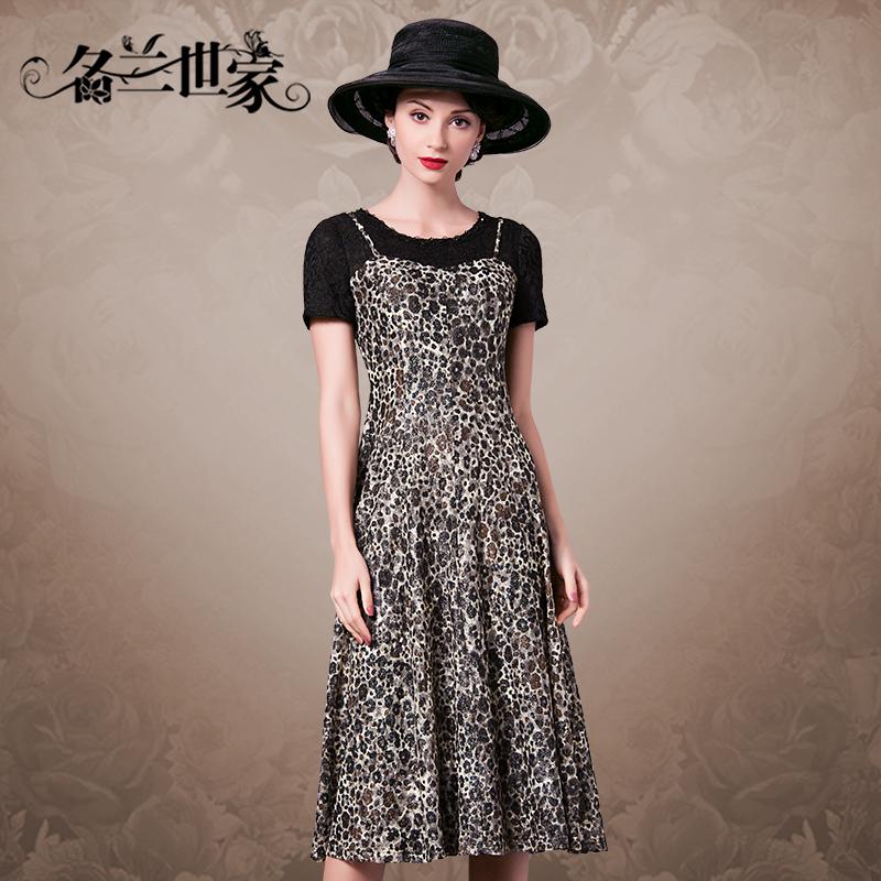 名兰世家春夏季新款女装蕾丝短袖假两件吊带长裙女豹纹显瘦连衣裙