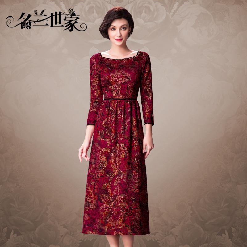 名兰世家婚礼妈妈装连衣裙春秋新款女中长款宽松收腰婚宴红色礼服