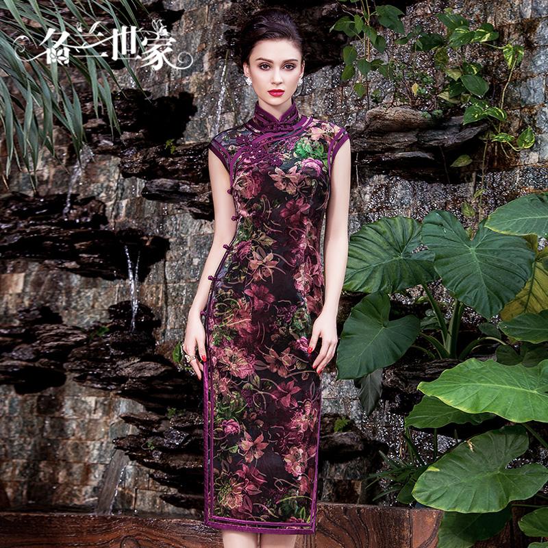 名兰世家夏季复古印花丝绒长旗袍中式改良气质妈妈婚礼婚宴连衣裙