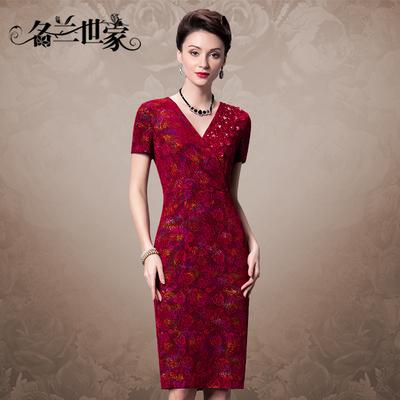 名兰世家中老年女装春连衣裙40-50岁中年大码镶钻短袖婚礼妈妈装