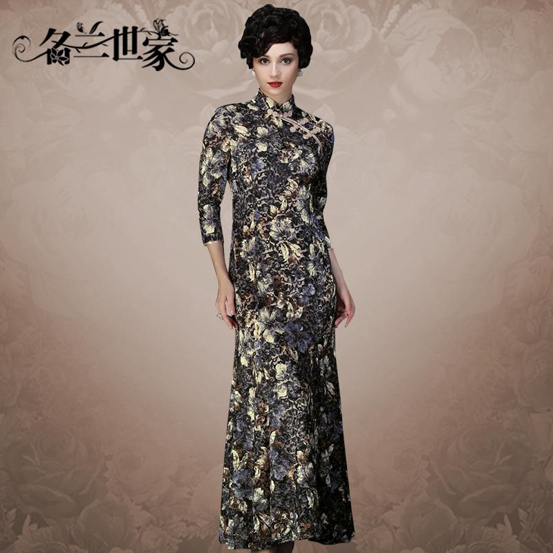 名兰世家秋装新款高端蕾丝七分袖长款改良复古妈妈旗袍礼服连衣裙