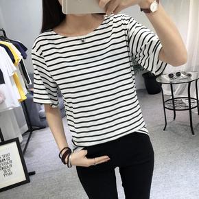 黑白条纹半袖短袖T恤
