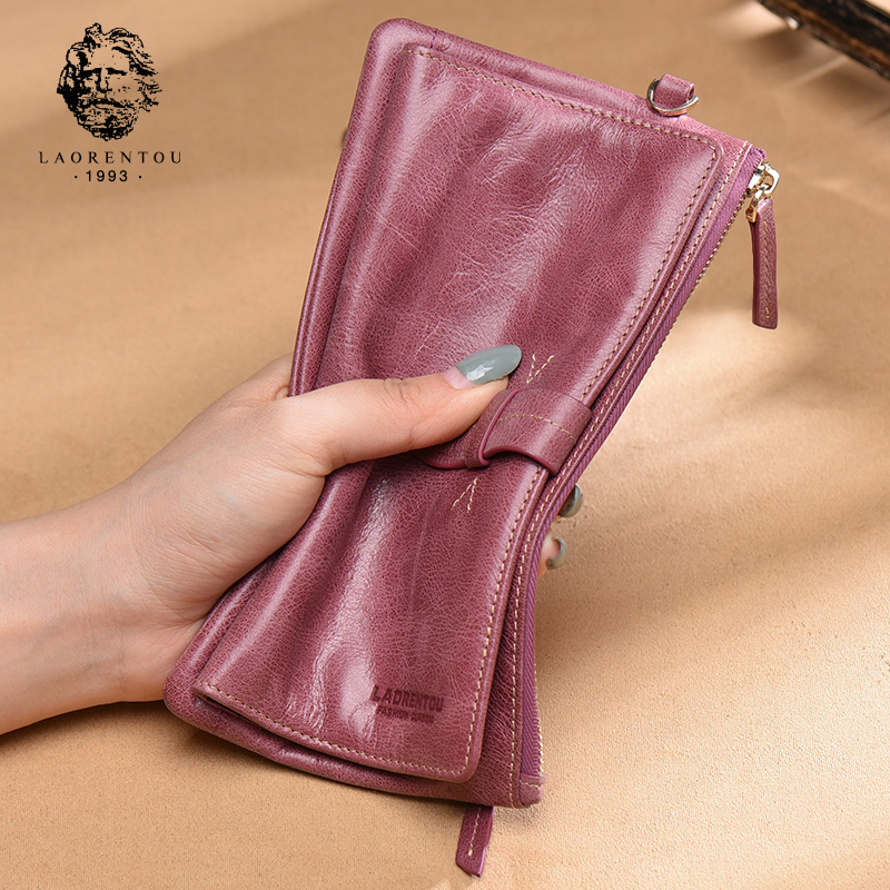 Old man head leather long wallet woman 2019 new Simple multifunctional casual hand bag lady zipper Wallet