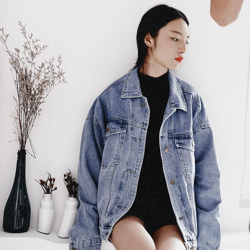 【诵耕】定制韩版秋季新款宽松显瘦中长款做旧大码牛仔外套上衣女
