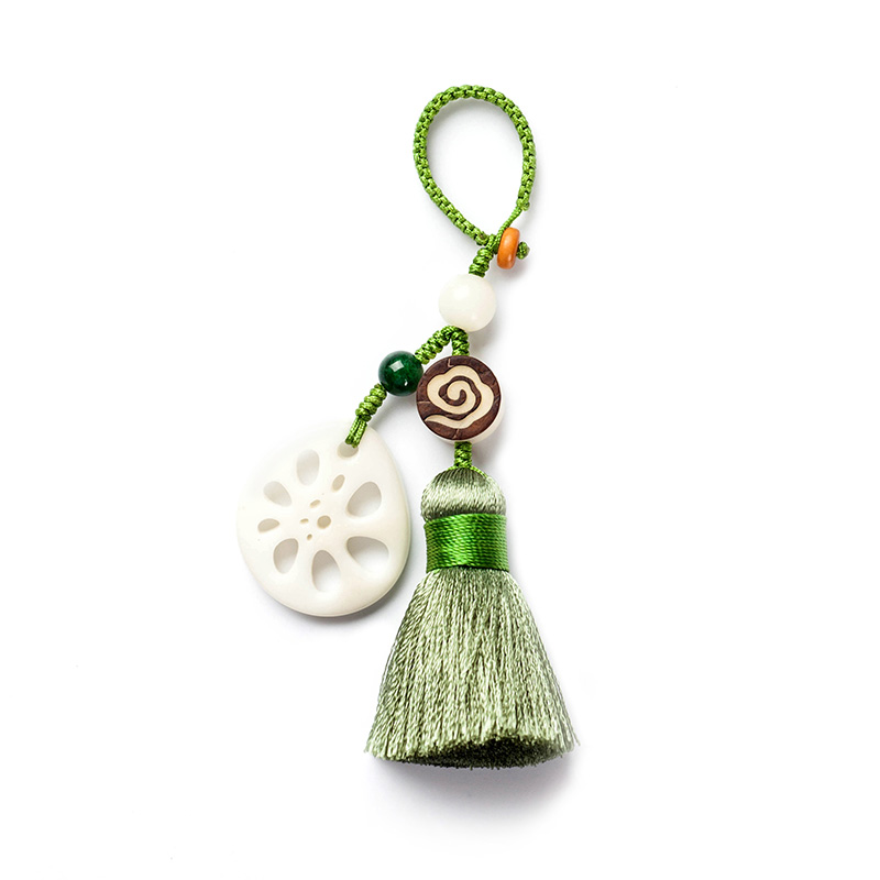 一念の自動車の鍵の掛け点の白玉の蓮の花の鍵は手作業の古典的なアイデアの鍵のチェーンを掛けて飾ります,タオバオ代行-代行奈々