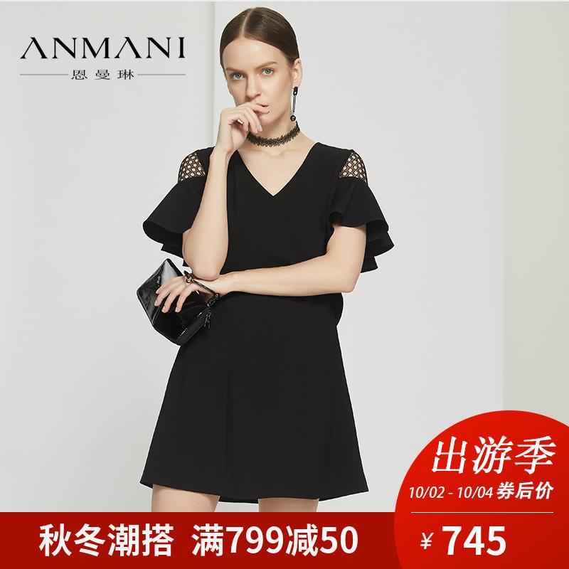 恩曼琳18夏新品时尚V领镂空蕾丝拼接荷叶袖收腰女连衣裙EAN8BA96