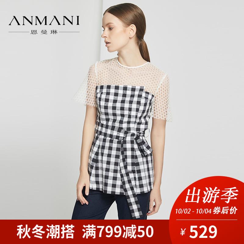 ANMANI-恩曼琳18夏新撞色格纹镂空圆领短袖蕾丝衫女上衣EAN8BA92