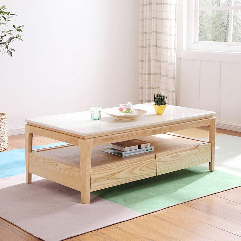 北欧实木茶几电视柜组合家具简约现代小户型客厅大理石火烧石茶台