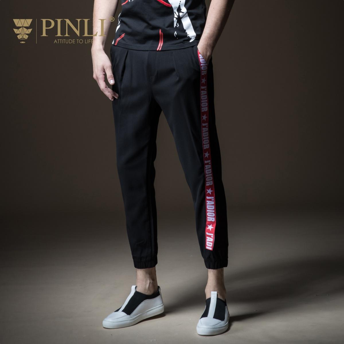 PINLI品立2018夏季新品男装修身贴织带小脚九分休闲裤B182517376