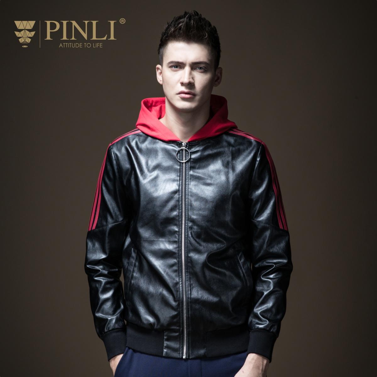 PINLI品立2018秋季新款男装PU皮连帽拼色男士夹克外套B183404460