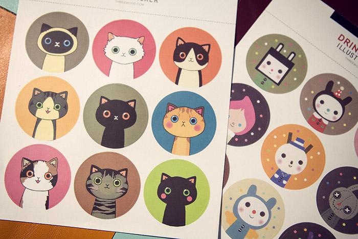 韩国进口防水可爱猫咪万用圆形装饰封口贴纸(18小枚入)手帐贴纸