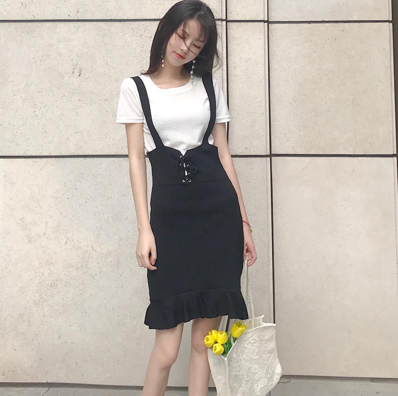 实拍 高腰显瘦鱼尾背带裙针织绑带半身裙中长款包臀裙