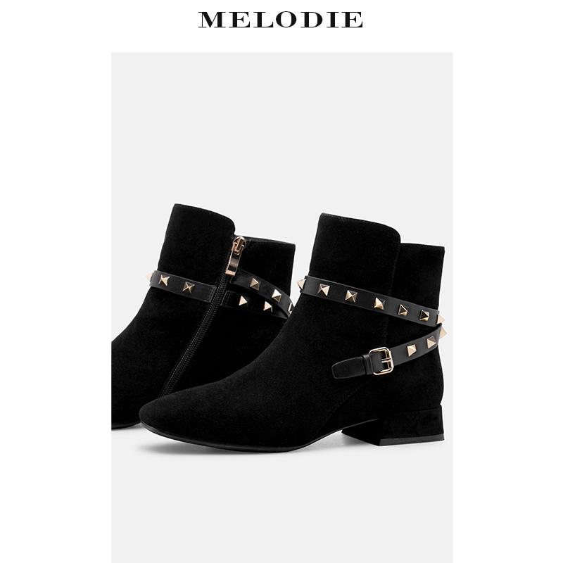 MELODIE-麦露迪短靴粗跟高跟裸靴机车马丁靴侧拉链休闲皮靴通勤