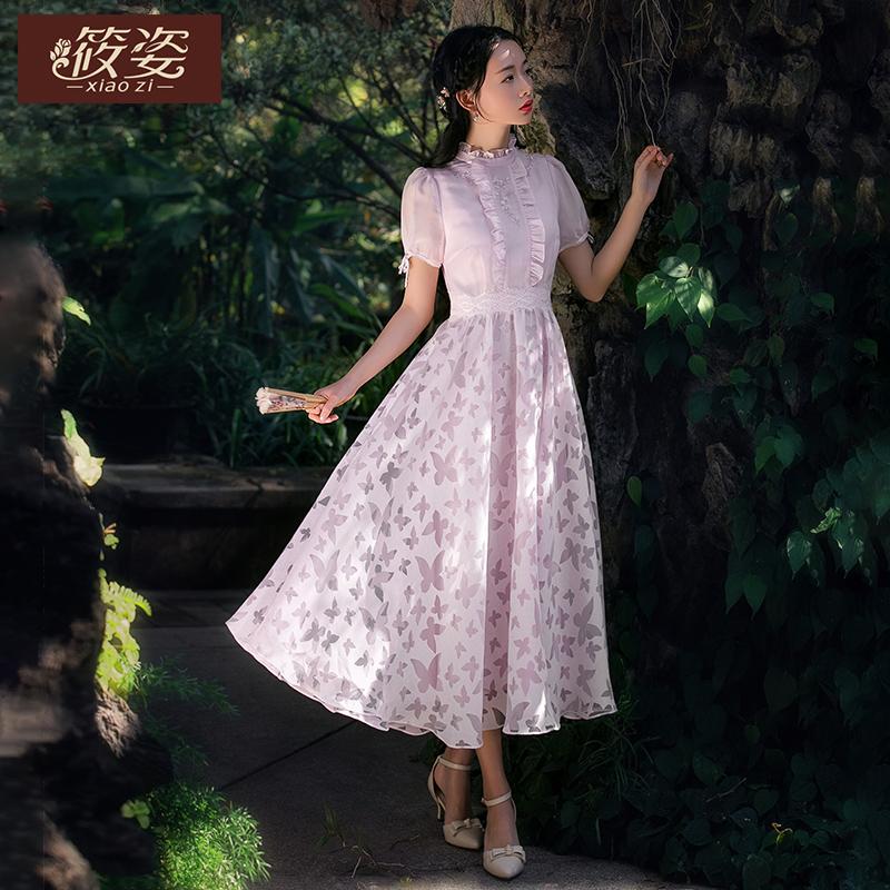 筱姿蝶梦2018秋新款女装复古短袖连衣裙收腰显瘦木耳仙女中长裙