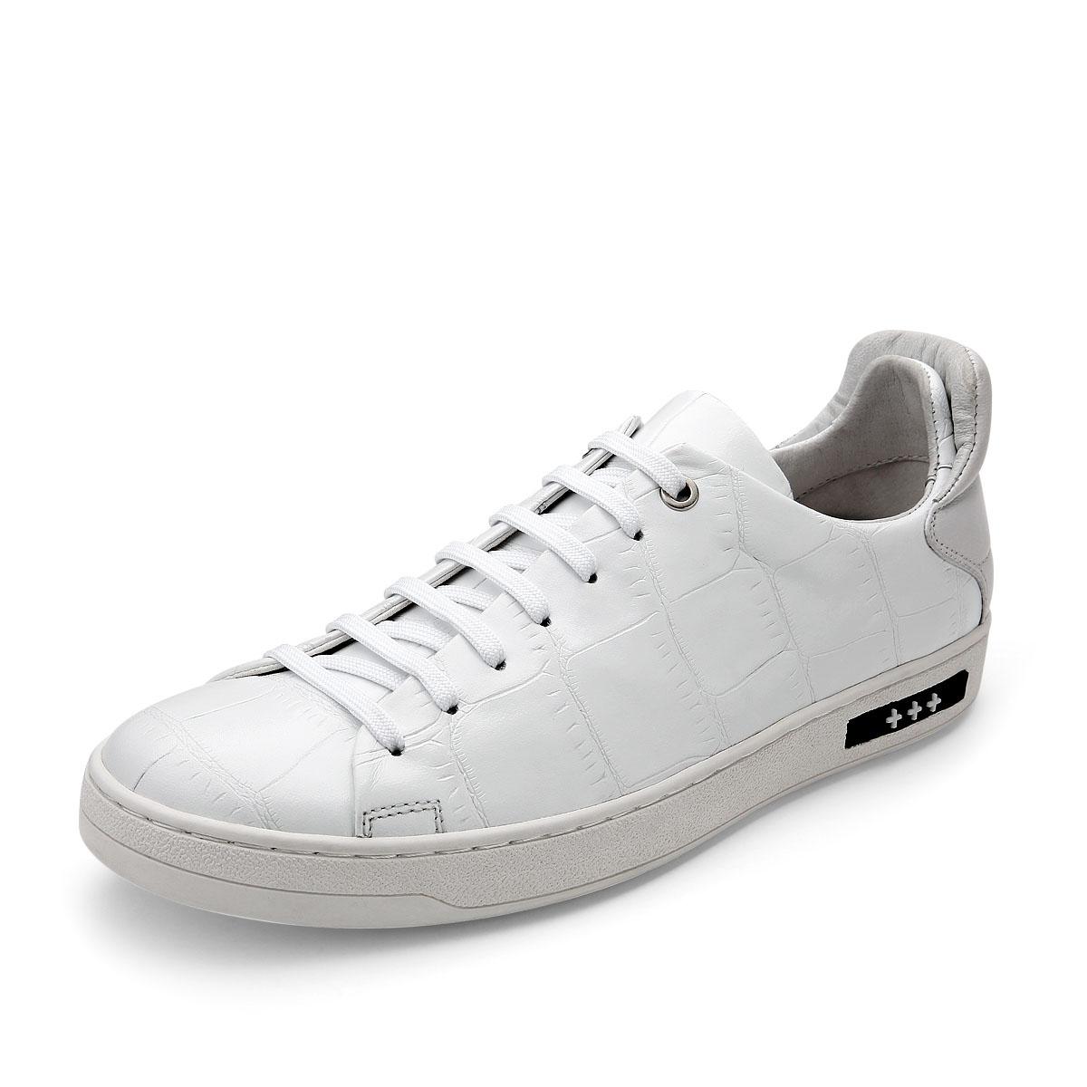 Sanken夏季休闲鞋男真皮透气板鞋韩版百搭潮流男士运动时尚小白鞋