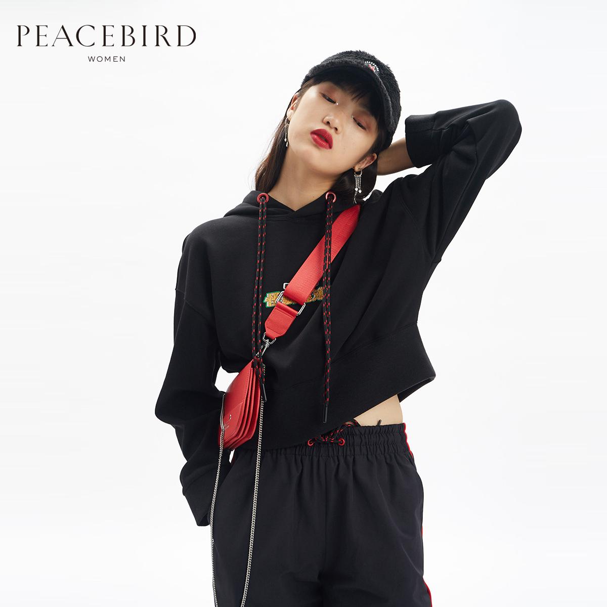 【商场同款】太平鸟女装春装2019新款哥斯拉连帽短卫衣A6DC91182