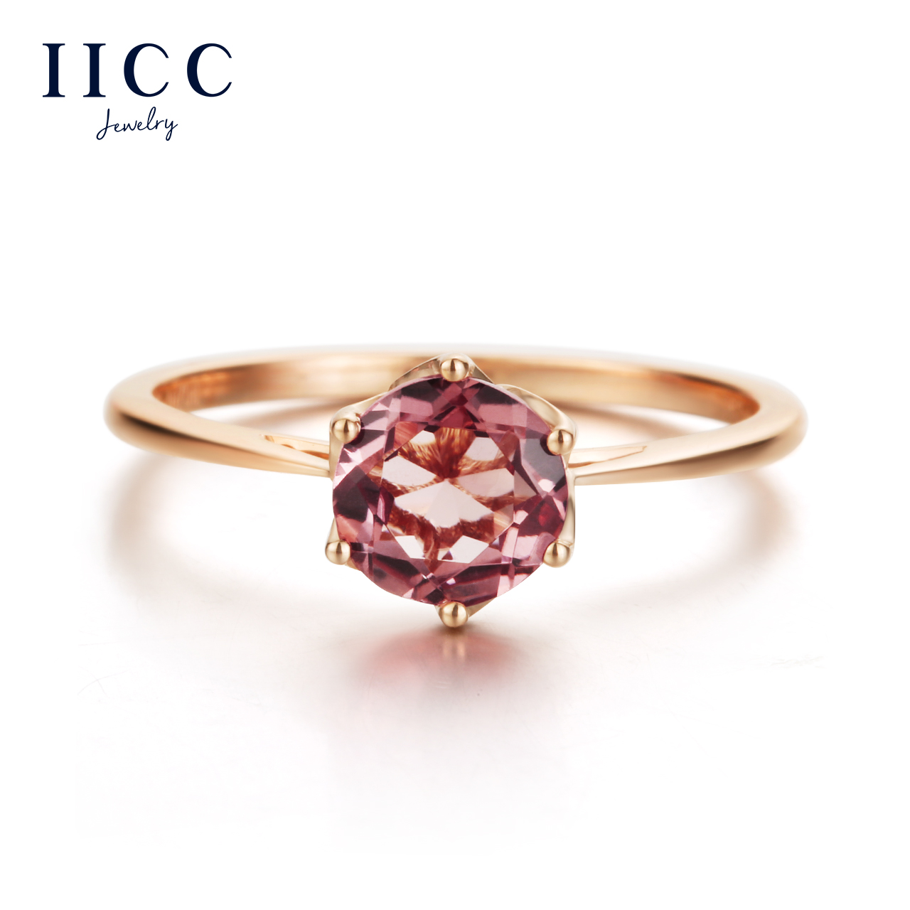 iiCC18K金玫瑰金碧玺戒指环女彩色宝石定制生日情人节礼物送女友
