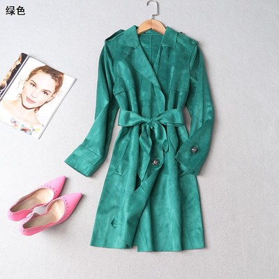 108763 Ming Wei Women's 2017 winter lapel double-breasted long-sleeved trench coat