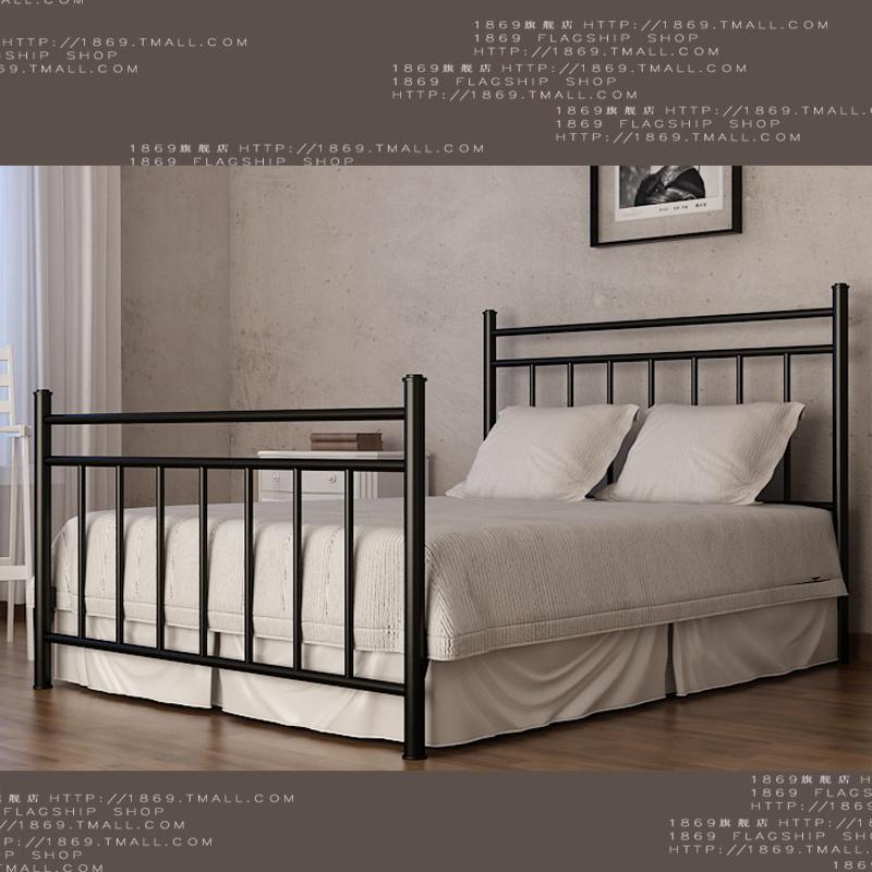1869欧式铁艺床钢木床田园双人床1.5铁床架简约双人公主床1.8G006