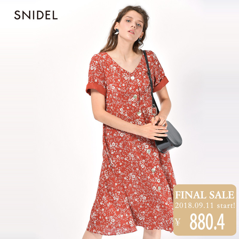 SNIDEL2018夏款新品 碎花连衣裙SWFO182017
