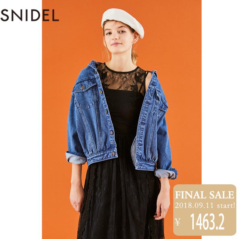 SNIDEL 2018新品蕾丝印花无袖长款连衣裙 SWFO181053