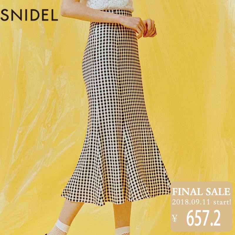 snidel 2018新品 复古印花中长款半身裙 SWFS181161