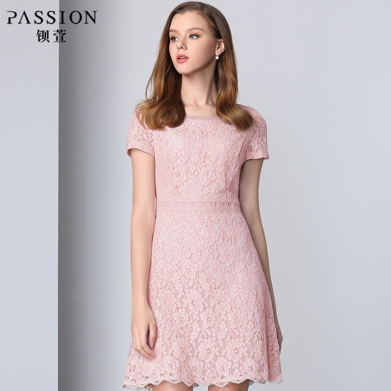 钡萱2018夏季新款 粉色气质收腰显瘦蕾丝连衣裙短裙A字裙 RM