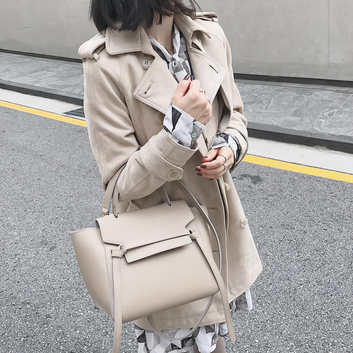 南瓜谷/巴黎风景/经典再现长/短款麂皮绒风衣女秋装外套上衣 W177