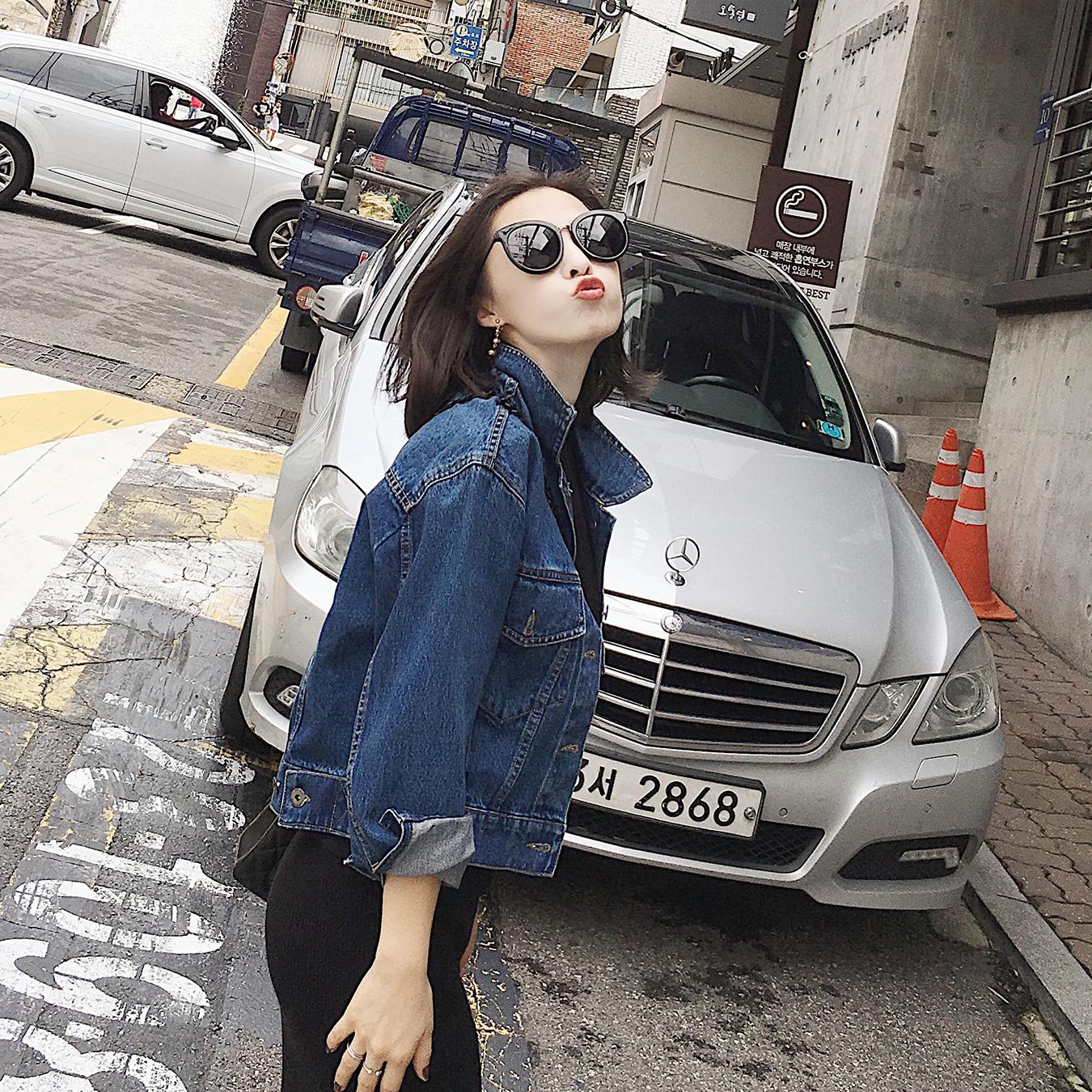 南瓜谷牛仔外套时尚女薄款夹克长袖宽松新款韩版短款上衣秋W182