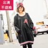 QUEENSHOP 2017 autumn and winter new women's large A letter pocket drawstring hooded dress 01083797