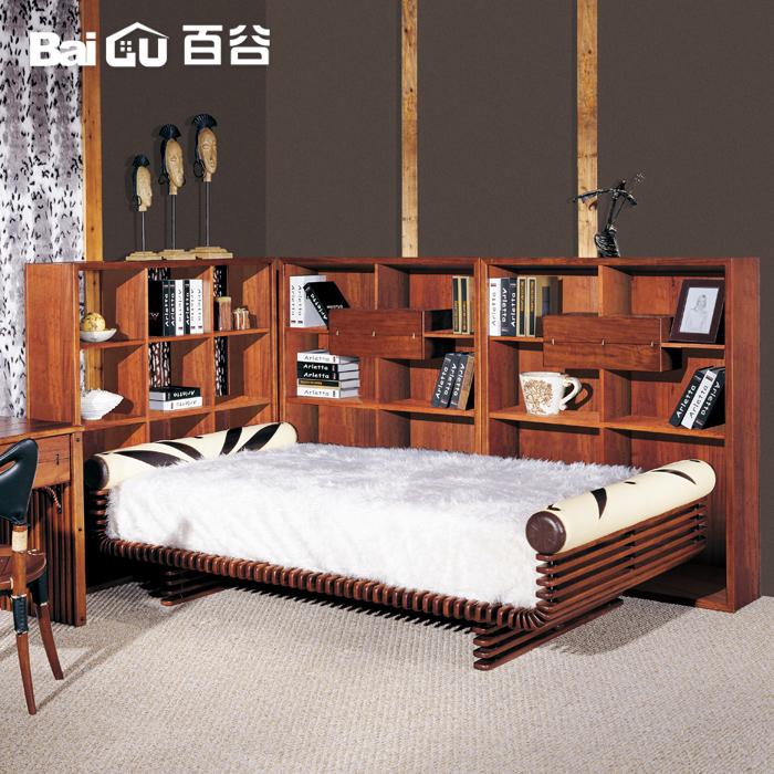 百谷实木家具贵族风全手工实木书架书柜d52