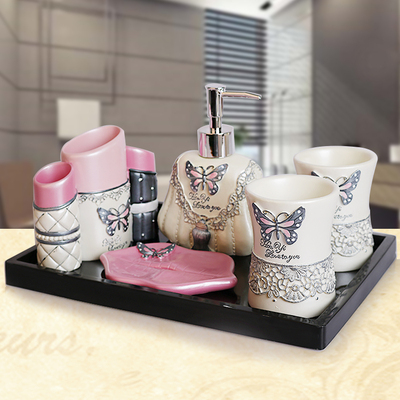 Thick art bathroom five sets of European resin bathroom supplies toothbrush wash suit wedding move housewarming gifts