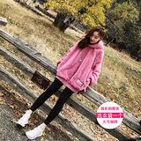 冬季女装2016韩版加厚加绒毛毛卫衣宽松套头连帽中长款毛茸茸外套